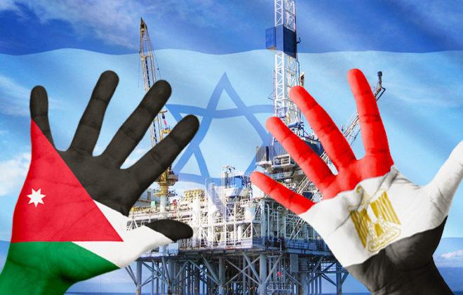 ידיים צבועות בדגלים של ירדן ומצרים על רקע אסדת גז עם דגל ישראל