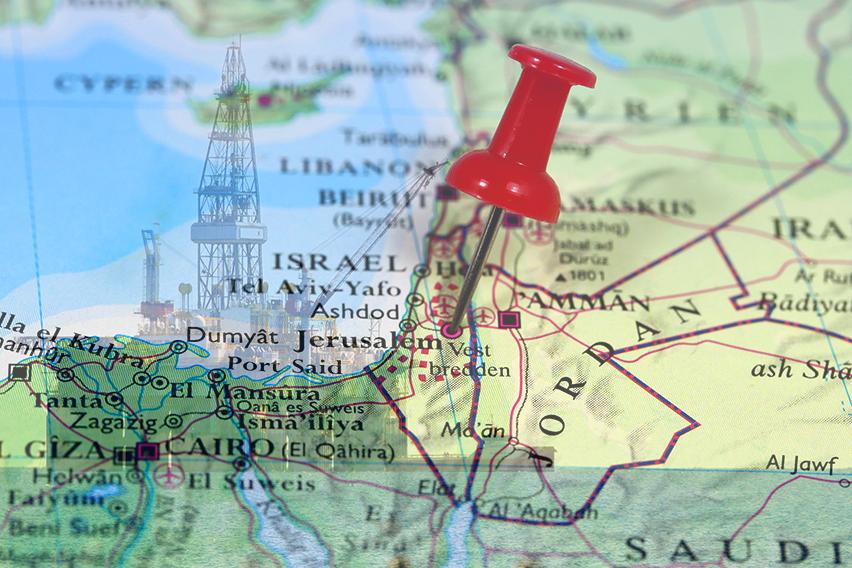 מפת ישראל ושכנותיה